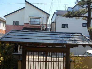 門の銅屋根をルーフィング材に交換